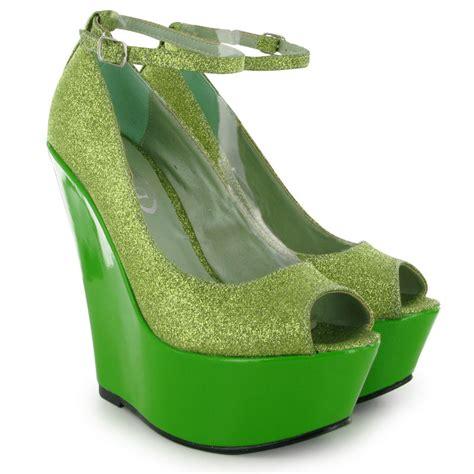 green glitter high heels green wedge glitter womens court high heels ankle