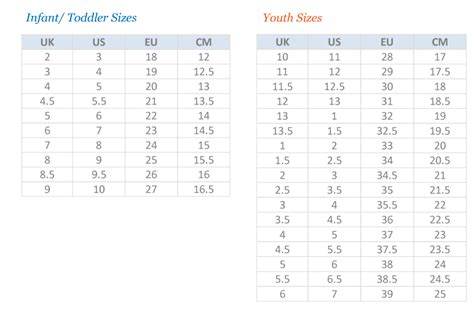 toddler shoe size chart shoes size chart