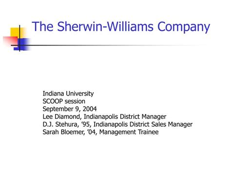 sherwin williams paint store east 116th fishers in ppt the sherwin williams company powerpoint presentation