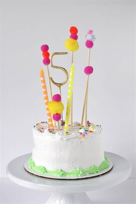Diy Cake Happy Birthday Cake pom pom birthday cake topper delineate your dwelling