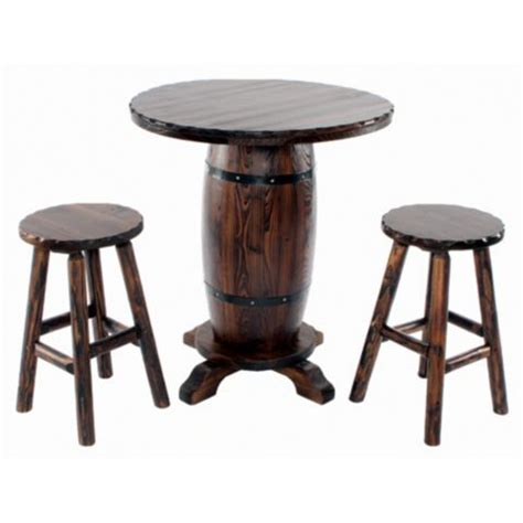 Shed Wooden Barrel Stools by Shed Barrel Bistro Bar Table With 2 Stools Tractor
