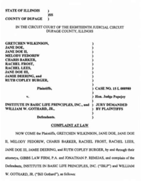 Intent To Sue Credit Bureau Letter Plaintiffs Amend Lawsuit Against Iblp Also Sue Bill Gothard