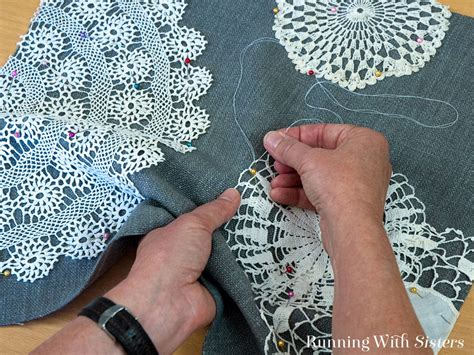 stitching onto fabric vintage lace doily pillow running with
