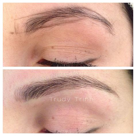 microblading hairstrokes to create a longer more