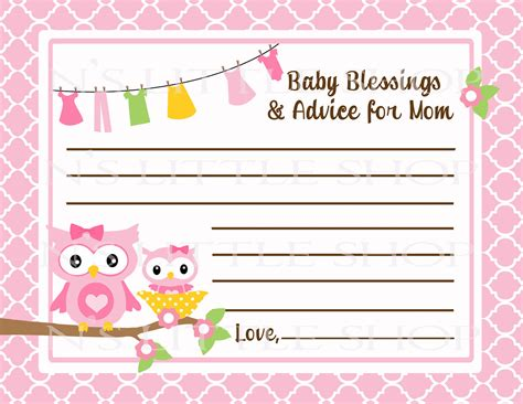 free printable baby shower advice best wishes cards 7 best images of mom advice cards free printable owl