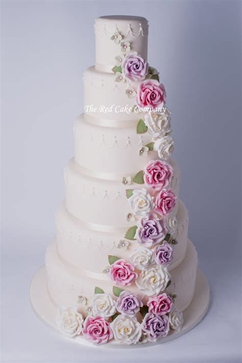 Hochzeitstorte Altrosa by 6 Tier Cascade Wedding Cake Redcakecompany