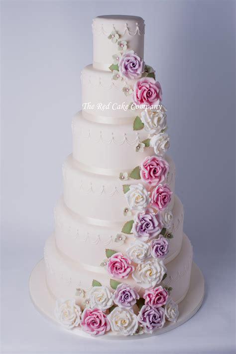 hochzeitstorte altrosa 6 tier cascade wedding cake redcakecompany