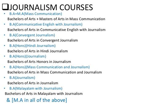 Mba In Journalism And Mass Communication Syllabus by Mass Communication Courses