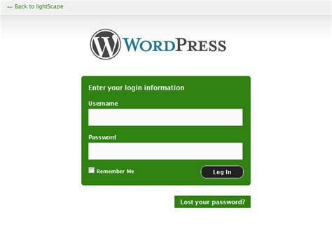 wordpress login page template