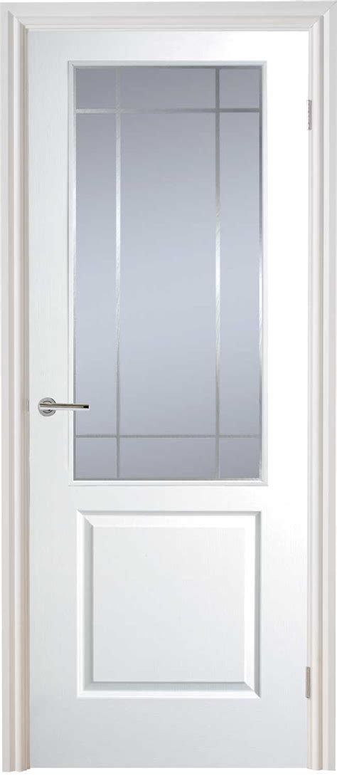 Interior Glass Doors White Half Light Manhattan Smooth Moulded White Door
