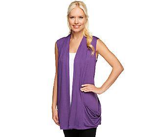 logo by lori goldstein vest logo by lori goldstein slub knit vest with 2 tone crochet back qvc