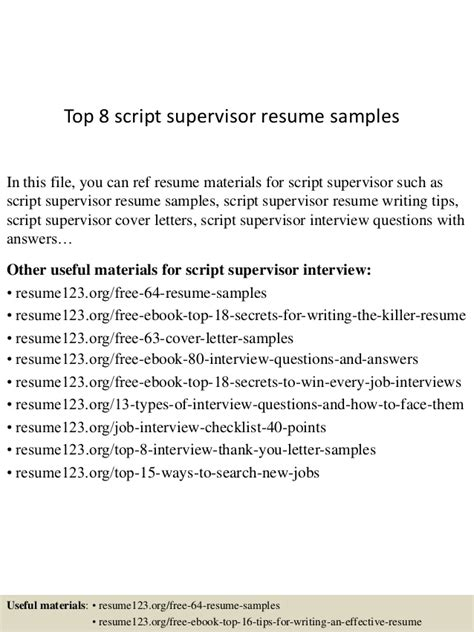 resume script top 8 script supervisor resume sles