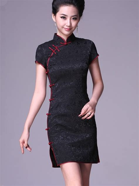 Modern Fashion Cheongsam Black black cheongsam qipao dress