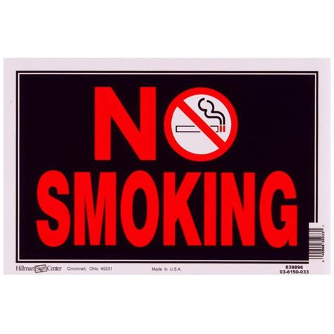 no smoking sign lowes shop hillman 8 in x 12 in smoking sign at lowes com
