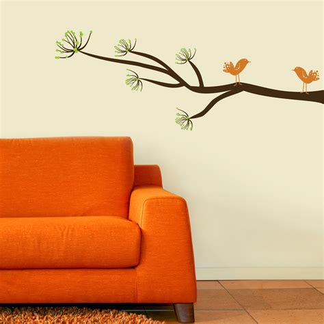 branches wall stickers mod tree branch with two mod birds wall decals