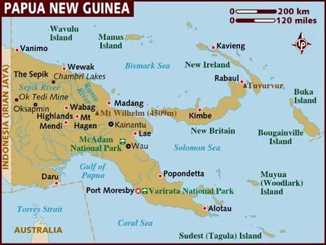 papua new guinea map map of papua new guinea