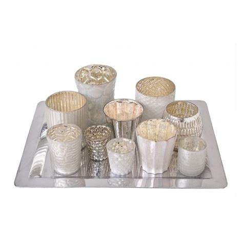 Silver Candle Tray by Ten Glass Votives With Silver Coloured Tray