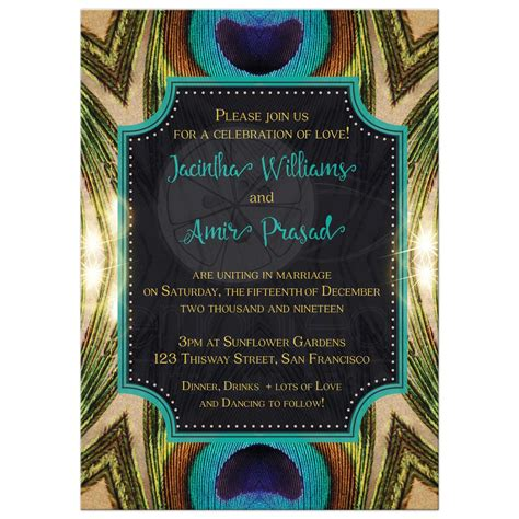 Peacock Wedding Invitations by Peacock Wedding Invitation Green Teal Gold