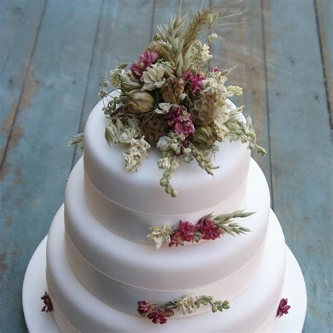 rustic dried flower wedding cake decoration by the artisan