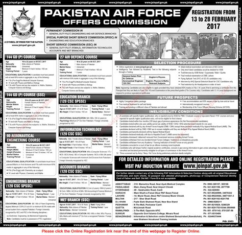 Friends Mba Requirements by Join Pakistan Air 2017 February Paf