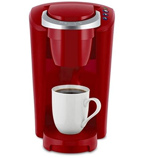 Keurig K Compact Single Serve Coffee Brewer Maker in Red with the Slimmest Removable Reservoir