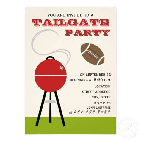 Tailgate Party Invitation 5 Quot X 7 Quot Invitation Card Tailgate Template