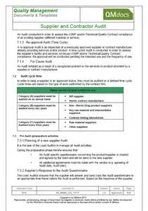 supplier audit plan template vendor supplier and contractor audit