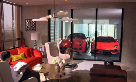 sleeping in the living room park a ferrari in the living room or sleep in a v8