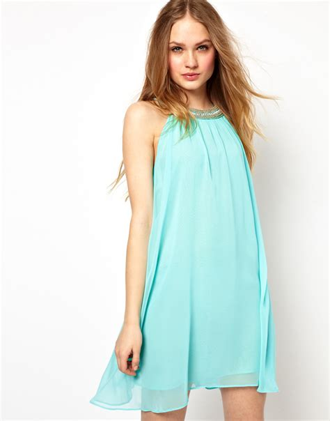 swing dress with collar jarlo embellished collar swing dress in blue lyst