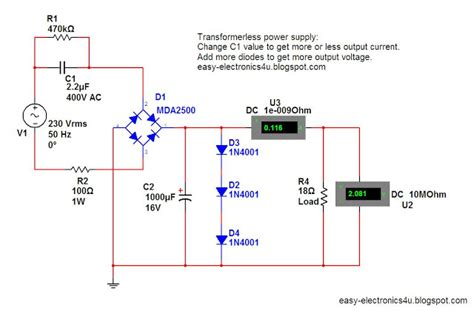 capacitor max current simple transformerless power supply easy electronics