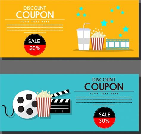 coupon template for adobe illustrator movie discount coupon templates colored symbols icons