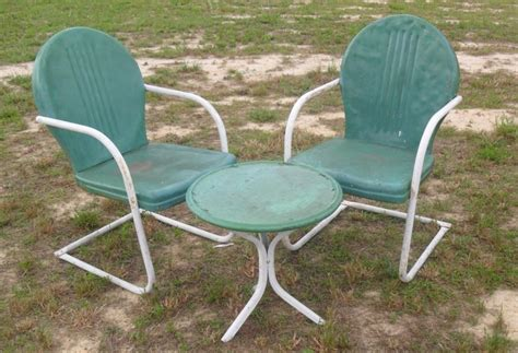 Patio Glider Chairs Metal Vintage Metal Chairs And Retro Patio Tables Vintage