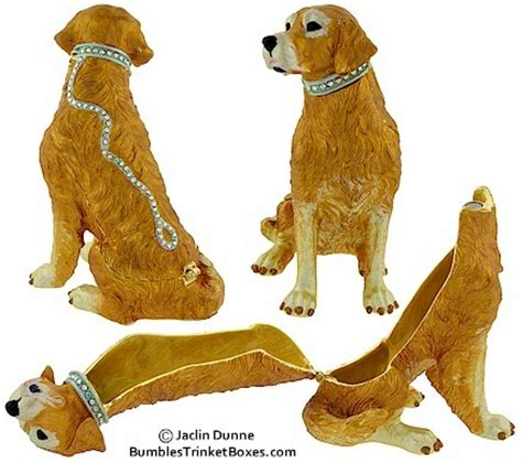 golden retriever leash trinket box golden retriever on leash