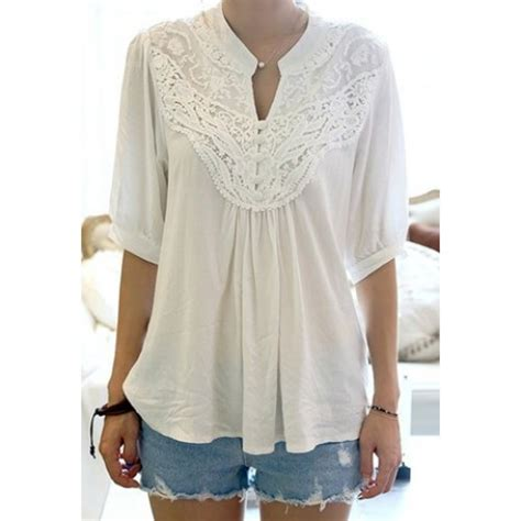 Casual Blouse lace splicing crochet flower 1 2 sleeve casual blouse for