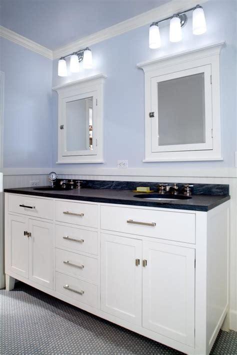 craftsman blue double vanity bathroom  penny tile