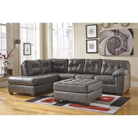 ashley leather sectional with chaise ashley alliston left chaise leather sectional with ottoman