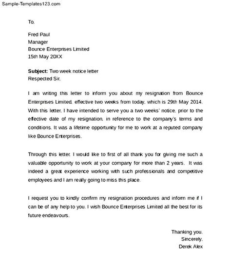 Two Week Resignation Letter Sle by Employee Resignation Letter With 2 Weeks Notice Sle Templates Sle Templates