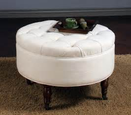 Dark Wood Patio Furniture White Round Fabric Ottoman Coffee Table With Storage And