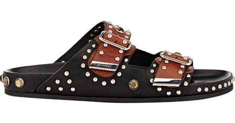 givenchy studded sandals givenchy studded buckle sandals in black for lyst