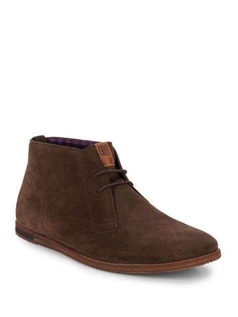 ben sherman aberdeen suede chukka boots in brown for