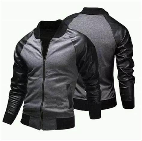 jual jaket pria bomber kombinasi semi kulit  fleece