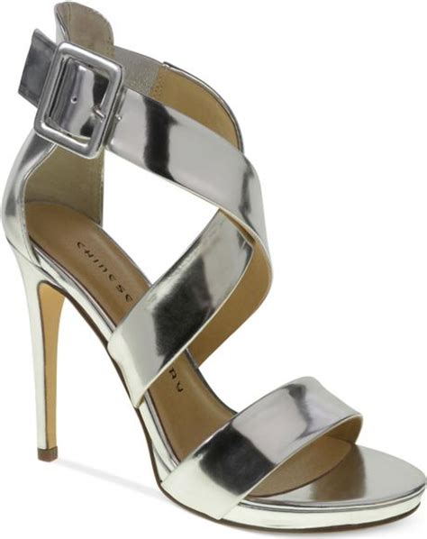 Guess Charlote Silverblack laundry black criss cross sandals in silver