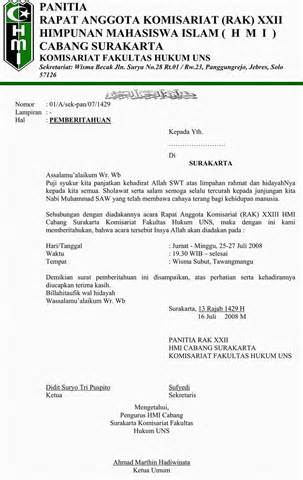 surat pemberitahuan rapat anggota komisariat ke xxiii
