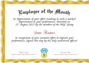 employee of month template employee of the month certificate created with