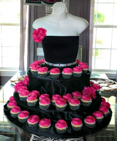 cupcake and cake stand black couture cupcake stand with pink roses 2040332 weddbook