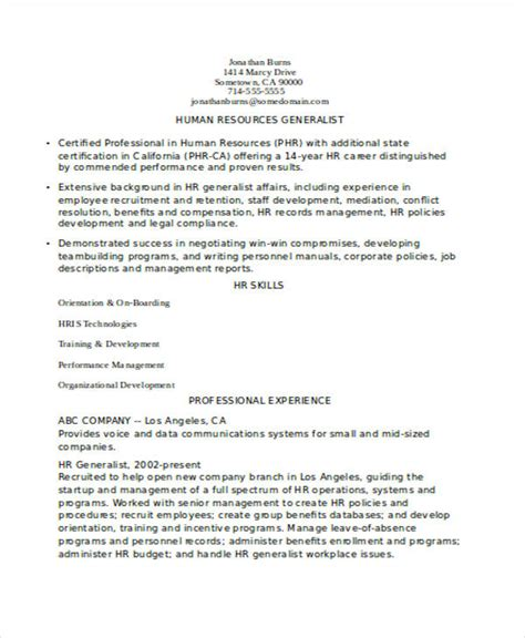 Hr Resume Sle For Experienced experienced resume format template 6 free word pdf
