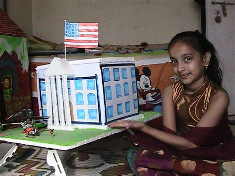 How To Make A 3d Model Out Of Paper - white house model for school craft exhibition