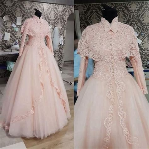 jual dress design 2016 new vintage high neck long sleeve with cape lace