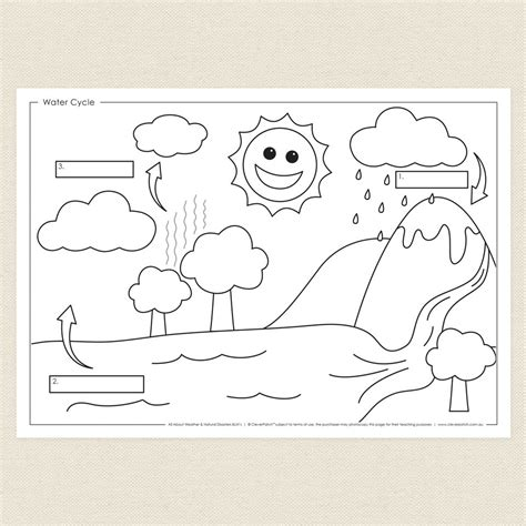 water cycle coloring page kindergarten water cycle activity sheet cleverpatch