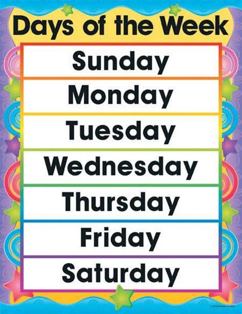 printable week days days of the week printable chart www imgkid com the